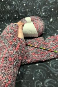 Purple mix crocheted fingerless gloves