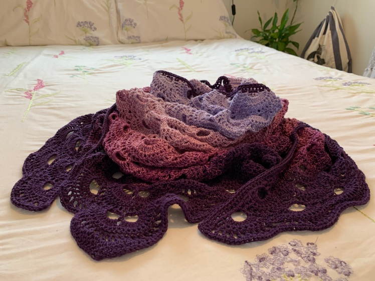 Virus Shawl in shades of purple